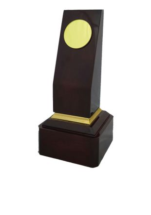 Solid Wooden Monumental Award with Golden Name Plate