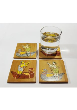 Boad Ride Pattachitra Design Hand Painted Wooden Coaster set of 4