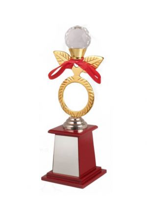 Golden Metal Trophy With Flower on the Top