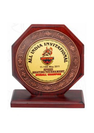 Octagonal Shaped Wooden Award Plaque