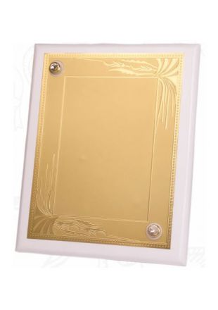 Golden Plated White Wooden Plaque