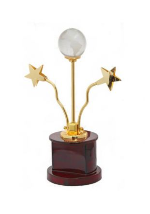 Crystal Globe and Flying Stars Golden Trophy