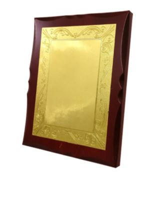 Golden Plated Curve Designed Wooden Plaque
