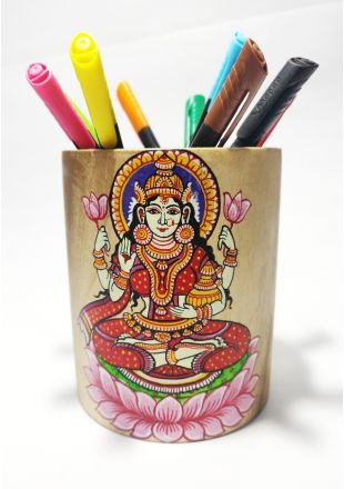 Handmade Hand Painted Laxmi Pattachitra Art Pen Stand