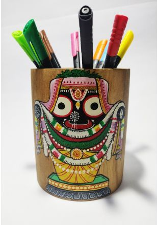 Handmade Hand Painted Lord Jagannath Pattachitra Art Pen Stand