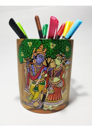 Handmade Hand Painted Radha Krushna Pattachitra Art Pen Stand