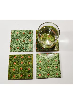 Leaves and Flower Design Hand Painted Wooden Coaster set of 4