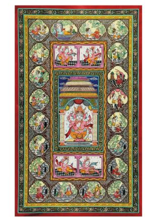 Life Story of Ganesh on Pattachitra Hand Painting by Odisha Traditional Artist - size 40x24