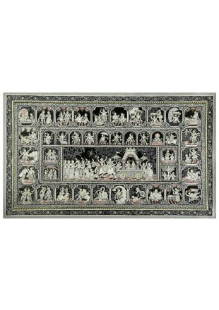 Pattachitra Artwork of Lord Krishna Epic Life Story Made by Odisha Traditional Artist - size 40x24