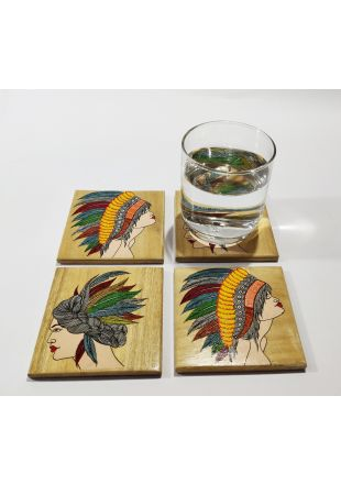 Modern Art Design Hand Painted Wooden Coaster set of 4