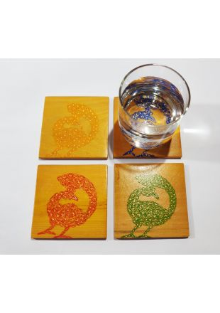 Peacock Art Design Hand Painted Wooden Coaster set of 4