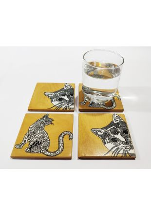 Pet Art Design Hand Painted Wooden Coaster set of 4
