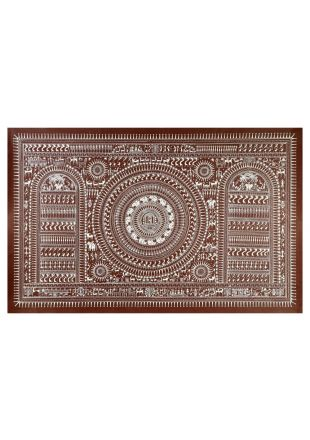 Saura Tribal Art Of Odisha With Pattachitra Hand Painting - size 40x26 inch