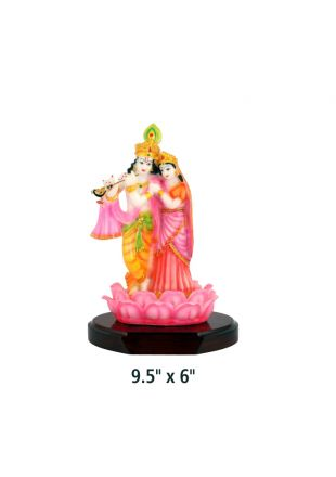 Standing Radha Krishna on Wooden Base for Gifting