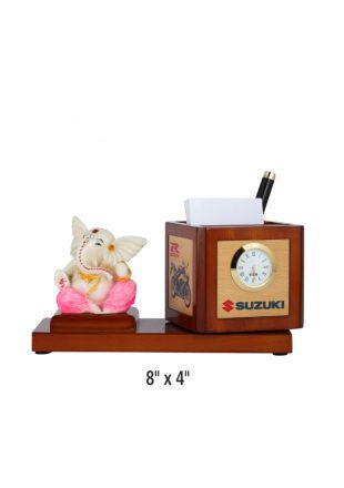 Table top - Sitting Ganesha on Wooden base with Penstand and watch